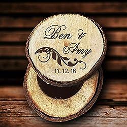 Caja de anillos de boda, de madera, personalizable