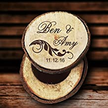Personalizado Nombre rústico madera caja de anillos de boda porta anillos regalos del día de San Valentín aniversario regalos para los padres