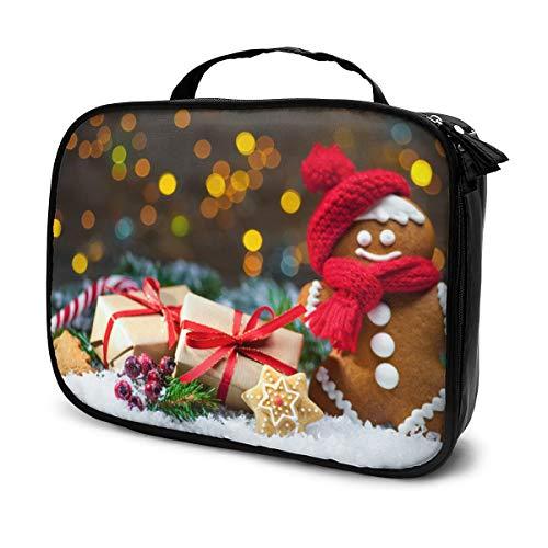 Lebkuchenmann mit Weihnachtsgeschenken im Schnee Canvas Make-up Tasche Handtasche Handtasche Organizer mit Reißverschluss