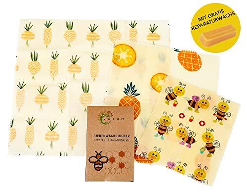 Vatum Wachstücher für Lebensmittel im 3er Pack | Die gesunde und nachhaltige Alternative zu Frischhaltefolie aus 100% Bio-Baumwolle | Wiederverwendbare Bienenwachstücher für EIN Zero Waste Leben