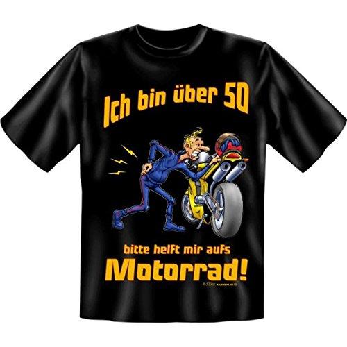über 50.Geburtstag Spass T-Shirt Ich bin über 50. Bitte helft mit aufs Motorrad! Fb schwarz (T-shirt Über Motorräder)