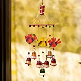 #1: ExclusiveLane 'Clinkering Songbirds' Hand-Painted Decorative Hanging Bells Wind Chime In Metal & Wood -Decorative Hanging Bells Home Decorative Pieces Wind Chimes For Home Balcony Wooden Wind Chimes Door Hangings Decoration Stylish Wall Decor And Hangings Door Decorative Hanging