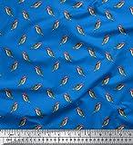 Soimoi Blau Baumwolle Ente Stoff Specht Vogel Stoff drucken