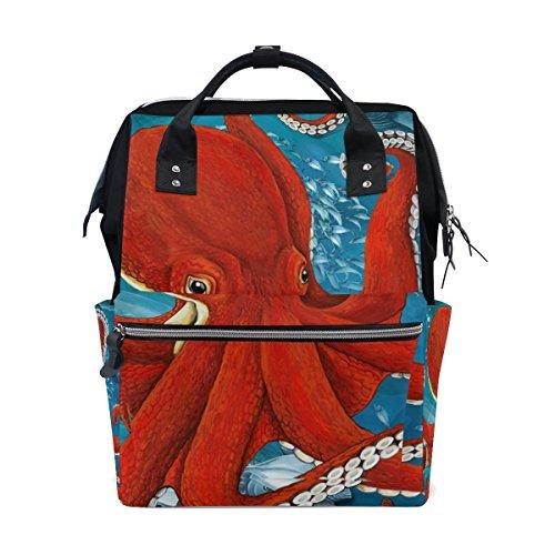 bennigiry Cartoon Sea Octopus Coral Wickeltasche Rucksack groß Kapazität Reise Back Pack Wickeltaschen Organizer Multifunktions-Baby Staubbeutel für Mama