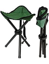 Taburete Plegable de campamento | Banquillo ideal para ir de pesca viaje camping acampada etc | Práctica Sillita Trípode fácil de transportar | Verde