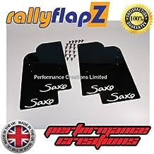 rallyflapZ Guardabarros para Citroen Saxo (1996-2003) Cantidad 4 Negro Guardafangos Logo Blanco (4mm PVC)