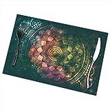 sexy world Abstrakte antike geometrische Tischsets Set 6, rutschfeste Tischsets für Esstisch, langlebige Tischsets für Erntedankfest, Hochzeiten, Party, Alltag, 12 x 18 Zoll