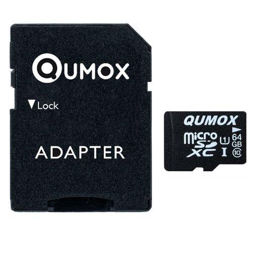 QUMOX Speicherkarte MicroSDXC 64GB UHS-I Grade 1 Class 10 mit SD Adapter für Smartphones und Tablets