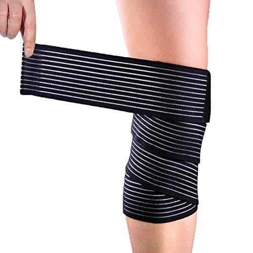 Yosoo Sportbandage, für Knie, Oberschenkel oder Wade, zur Kompression bei Verletzungen und Schmerzen, schwarz, hohe Elastizität, 1 Stück (Hohe Knöchel-länge Unten)