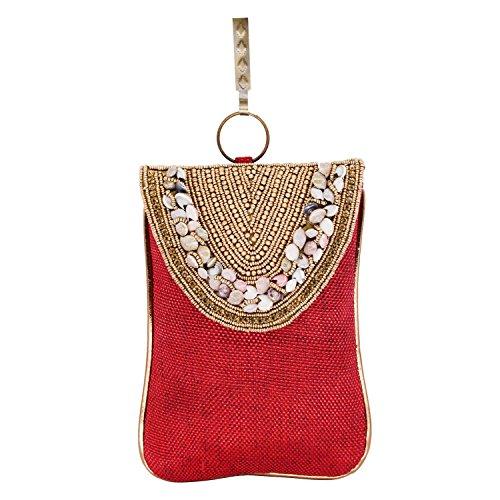 Bagaholics Ethnic Beads & Stone Jute Clutch Diamond Studded Saree Clutch Mobile...