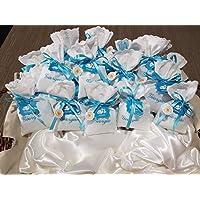 Crociedelizie, Stock 25 sacchetti ricamo nome bomboniere portaconfetti bimbo bimba nascita battesimo