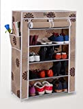 #7: Styleys Homelike 5 Layer Multipurpose Portable Folding Shoe Rack/Shoe Shelf/Shoe Cabinet with wardrobe cover, Easy Installation Stand For Shoes - Flower (60 cms X 30 cms X 90 cms)
