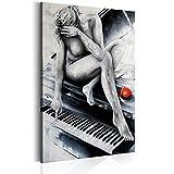 murando - Bilder 80x120 cm - Leinwandbilder - Fertig Aufgespannt - 1 Teilig - Wandbilder XXL - Kunstdrucke - Wandbild - Frau Klavier AKT h-B-0076-b-a