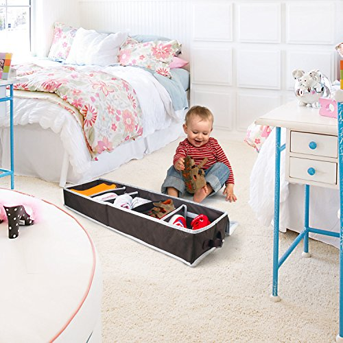 Underbed Shoes Storage, Aomeiqi Shoe Storage Boxes with Lids, Under Bed Storage Containers Shoe Organiser for 5 Pairs Shoes (80 x 25 x 10 cm)