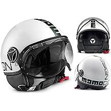 Momo Design - Casco Fighter con doble visera, color blanco brillante - negro, talla M