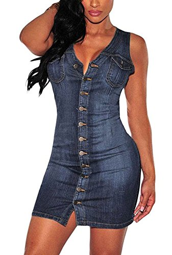 Minetom Damen Sommer Sexy Bodycorn Jeanskleid mit Knopf Ärmelloses Denim Blau Mini Kleid Vintage Tasche Kurz Dress (DE 34, Blau) (Vintage Denim-mini)