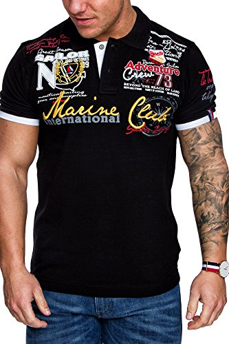 Amaci&Sons Herren Marine Club Stickerei Poloshirt Slim Fit Hemd Kurzarm Shirt 5001 Schwarz