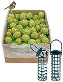 dobar 100 Meisenknödel mit Netz inklusive 2 gratis Meisenknödelhalter zum Aufhängen, Wildvogelfutter Vogelfutter ganzjährig, 1er Pack (1 x 9 kg)