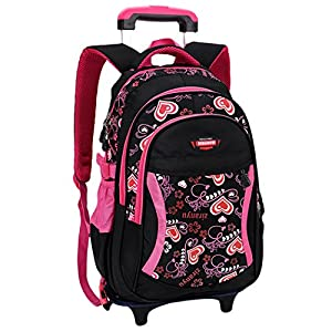 Trolley Backpack for School,Coofit Rolling Backpack Trolley Backpack Cute Nylon School Bag Wheeled Backpack for Kids from Coofit