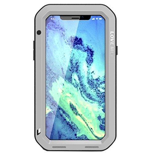 iPhone X Wasserdichter hülle, Love Mei Shockproof Aluminium Metall schützende Fall Abdeckung Schalen Mit gehärtetem Gorilla glas für iPhone X (schwarz) silber