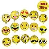 26 Stück Emoji Luftballon Wiederverwendbare 45cm Folie Helium Luftballons für Geburtstagsfeier Supplies Party Dekoration Nette Gelb Emoji Gesichter Set