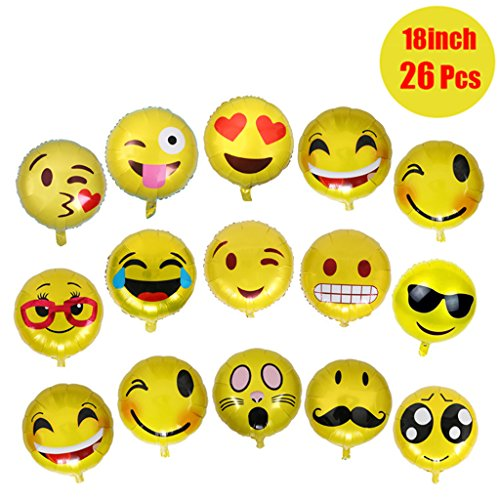emoji luftballon 26 Stück Emoji Luftballon Wiederverwendbare 45cm Folie Helium Luftballons für Geburtstagsfeier Supplies Party Dekoration Nette Gelb Emoji Gesichter Set