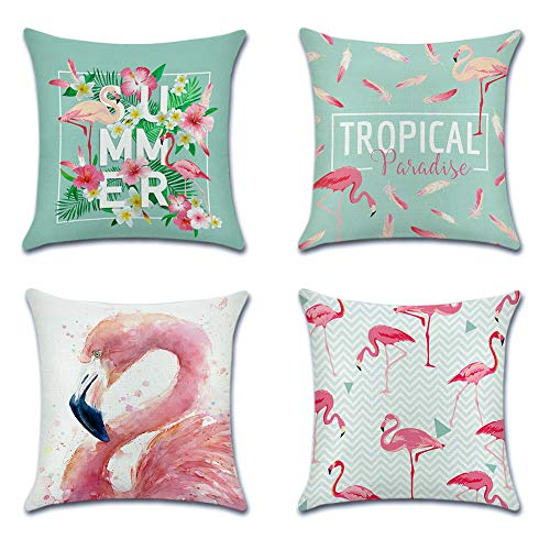 JOTOM Grün Pflanze Flamingo Baumwolle Leinen Kissenbezug Auto Kissenbezüge Kissenhülle Dekorativ Set Kissen Fall für Sofa Schlafzimmer, 45 x 45 cm (Rosa Flamingo) - Schlafzimmer-dekorative Kissen