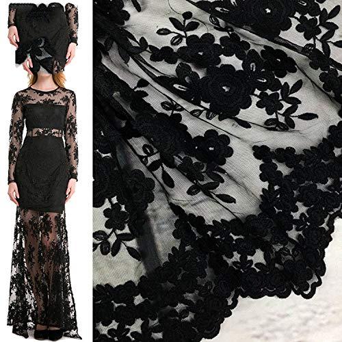 Schwarze Spitze Tüll bestickte Blume transparentes Netz weiße Spitze für Hochzeitskleid Nähzubehör Einheitsgröße BK (Braune Sackleinen Blumen)