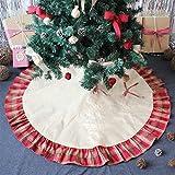 OWUDE 48 Pulgadas Falda del árbol de Santa Cubierta de la Base de Lino arpillera Falda del árbol de Navidad para la Fiesta de Navidad Vacaciones decoración del hogar