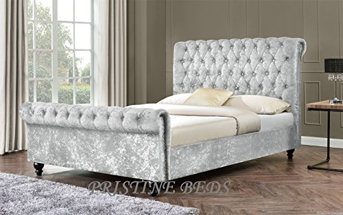 New Stunning Crushed Velvet / Chenille Luxurious Chesterfield Bed Frame , Double 4FT6, King Size 5FT (4FT6 Double, Silver)