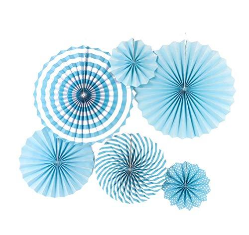 6PCS Colorful Karneval zum Aufhängen Party Papier Fans Set–Festive Deko Fans–Perfekt für Geburtstage, Kinder Party, festen, Hochzeiten und Urlaub Parteien, blau