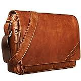 STILORD 'Nick' Umhängetasche Leder Herren Damen Unitasche 15.6 Zoll Laptoptasche Aktentasche Bürotasche Vintage Büffel-Leder