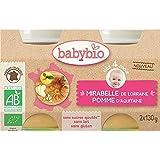 Babybio pot mirabelle pomme bio - sans gluten 4 mois 2x130g - ( Prix Unitaire ) - Envoi Rapide Et Soignée