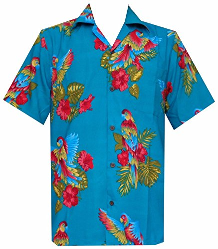 Hawaii-Hemd Papagei Drucken Blau Polyester Beach Camp Partei Aloha Türkis