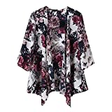 TOOGOO(R) Vintage donna inchiostro stampa floreale Blawing Batwing Cardigan Giacca Giacca Kimono M