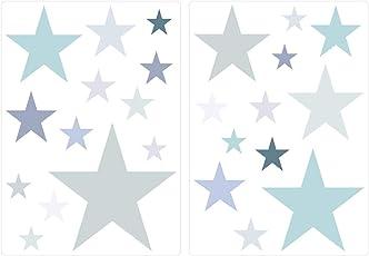 """I-love-Wandtattoo WAS-10452 Kinderzimmer Wandsticker Set """"Pastell Sterne in zarten Grau und Grün Tönen"""" 25 Stück Sternenhimmel zum Kleben Wandtattoo Wandaufkleber Sticker Wanddeko"""