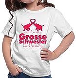 HARIZ  Mädchen T-Shirt Aus Dem Weg Grosse Schwester Elefanten Große Schwester Geschwisterliebe Bruder Geburt Inkl. Geschenk Karte Weiß 152/12-13 Jahre