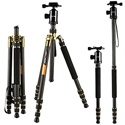 K&F Concept Carbon Fiber Camera Tripod Photographic Detachable Tripod Monopod 4 Sections with 12KG Load Capacity + 360 Degree Ball Head +Quick Release Plate for Video Digital Camera Panasonic Canon Nikon Sony GoPro Fujifilm Kodak DSLR Cameras Black 66