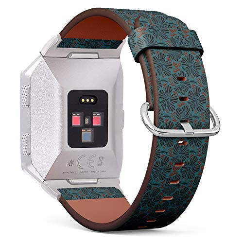 Art-Strap Kompatibel mit für Fitbit Ionic - Uhrenarmband Ersatzarmbänder Lederarmband mit Edelstahl-Verschluss und Adapter (Hawaiian Aloha Shirt) - Womens Hawaiian Shirt