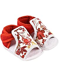 Infano White and Red Flower Print Cotton Baby Shoes (6-12 Months,1 Pair)