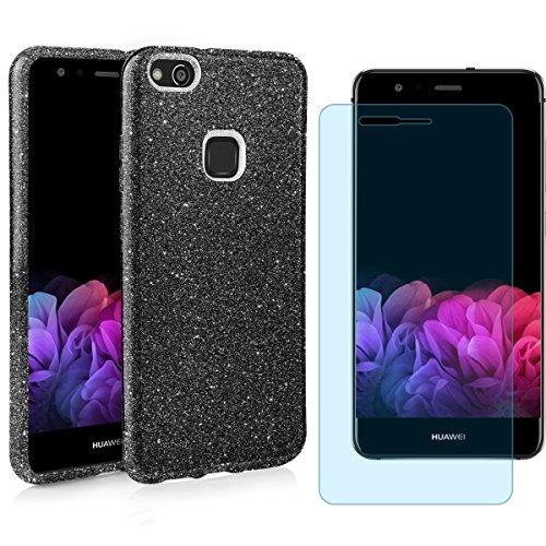 EGO ® Hülle Glitzer Schutzhülle für Huawei P10 Lite, Pink Back Case Bumper Glänzend Transparente TPU Bling Weiche Glamour Handy Cover Lipgloss Schwarz + Glas
