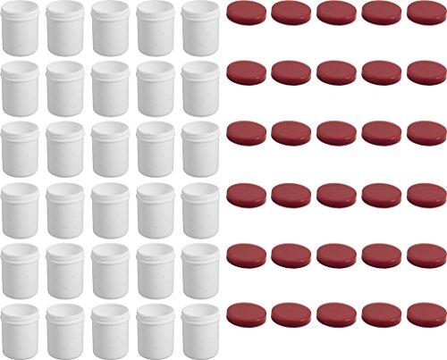 30 Salbendöschen, Creme-döschen, Salbenkruke hoch, 35ml Inhalt, mit rotem Deckel - MADE IN GERMANY -
