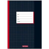 Herlitz 331223 - Lote de libretas cuadriculadas (10 unidades, A4, margen 26, 20 hojas), color negro
