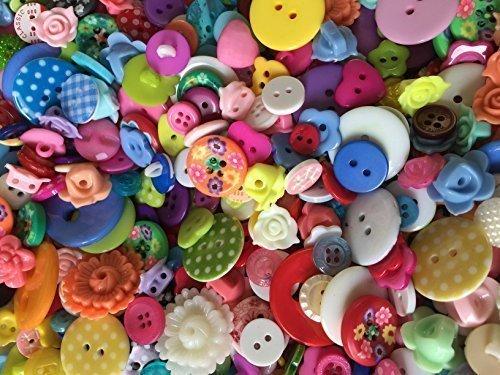 Pack mixto de 75g Acrílico / Botones de resina Flor, Corazón, Estrella, Redondo todos tamaños de 11mm - 23mm lunares, Manchada, Todos suministrados en a bolsa de organza perfecto regalo