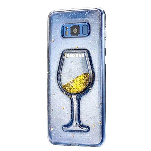 Samsung Galaxy S8 Hülle, Edaroo Weinglas design 3d Gold Glitzer Flüssig Wasser Hülle, Lustig Cool...