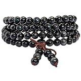 mookaitedecor Tibétain Mala Bracelet 108 Perles Pierres Élastique Collier Bouddhistes Chakra,Obsidienne Arc-en-Ciel