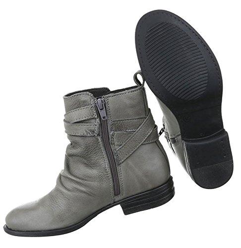Damen Stiefeletten Schuhe Stiefel Used Optik Leder Boots Beige Schwarz Grau 36 37 38 39 40 41 Grau