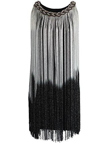 Kayamiya Damen Kettenhals Swing Ormbre Drapierung Quaste Flapper Gatsby Cocktailkleid XS/S Silber