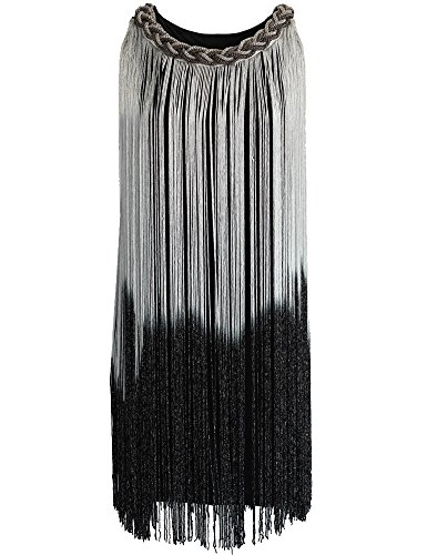 Kayamiya Damen Kettenhals Swing Ormbre Drapierung Quaste Flapper Gatsby Cocktailkleid L (Kleid Flapper Silber)