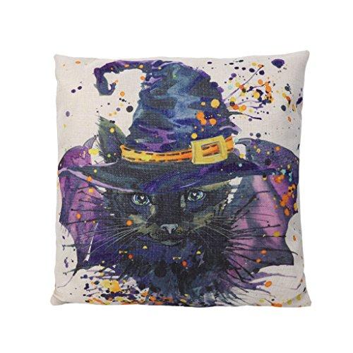 dairyshop Halloween sombrero Cat impresión lino Hug fundas de almohada, reversible cuadrado...
